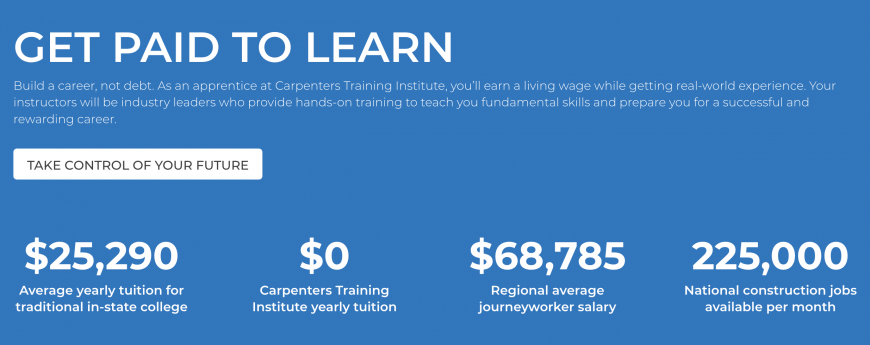 Get Paid to Learn_Carpenters Training Institute graphic